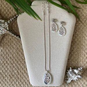 BRIGHTON Necklace & Clip Earrings MINGLE Silver